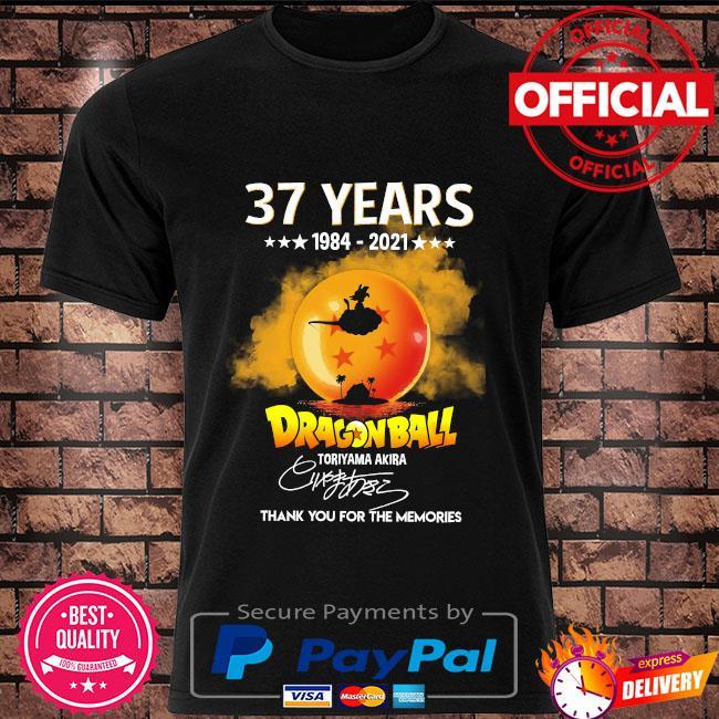 37 years Dragon Ball toriyama Akira thank you for the memories signatures shirt