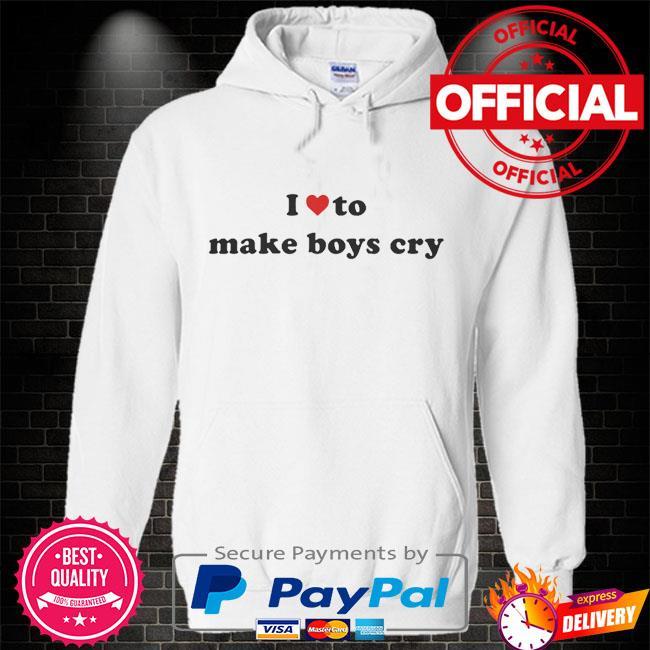 I love to make boys cry Hoodie white