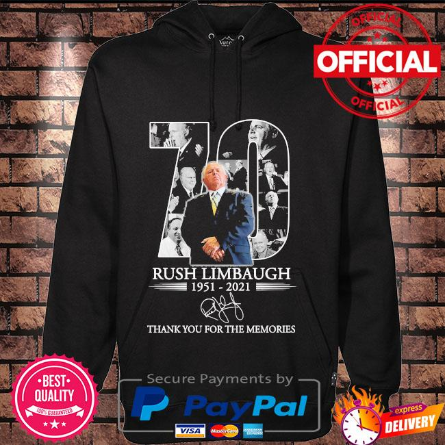 Official 70 Rush Limbaugh thank you for the memories signature s Hoodie black