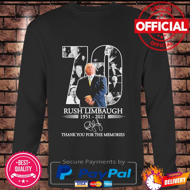 Official 70 Rush Limbaugh thank you for the memories signature s Long sleeve black