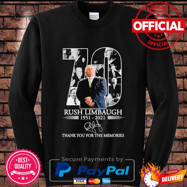 Official 70 Rush Limbaugh thank you for the memories signature s Sweater black