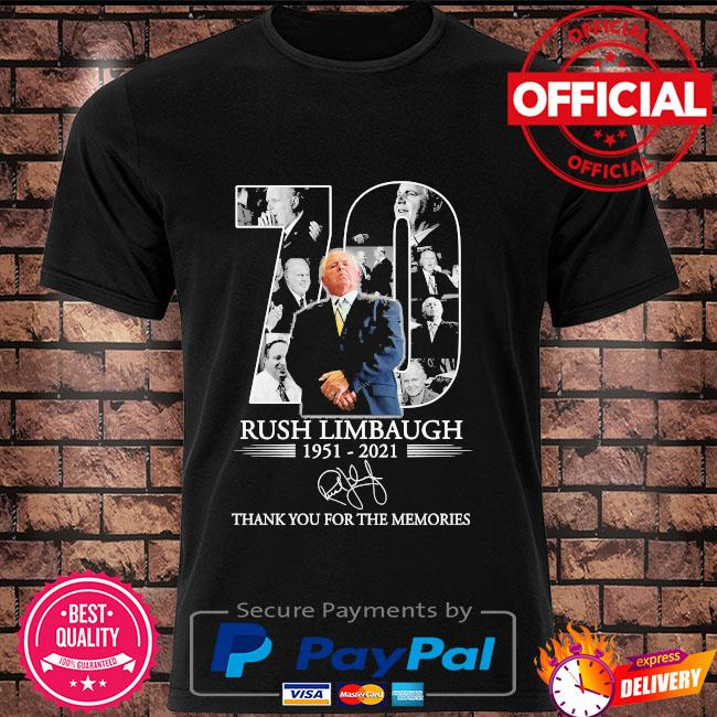 Official 70 Rush Limbaugh thank you for the memories signature shirt