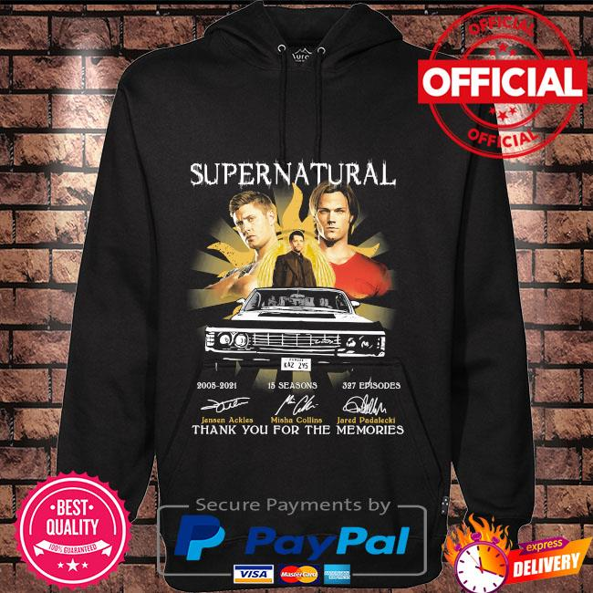 Official Supernatural 15 season 327 episodes thank you for the memories signatures Hoodie black