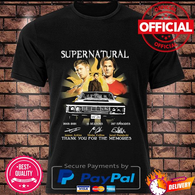 Official Supernatural 15 season 327 episodes thank you for the memories signatures shirt