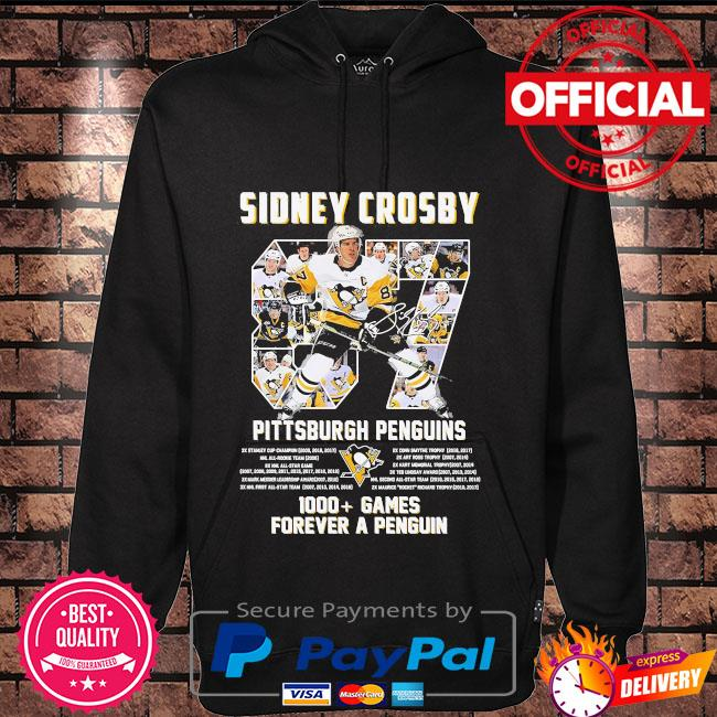 Sidney Crosby 87 Pittsburgh Penguins 1000 games forever a penguin signature s Hoodie black