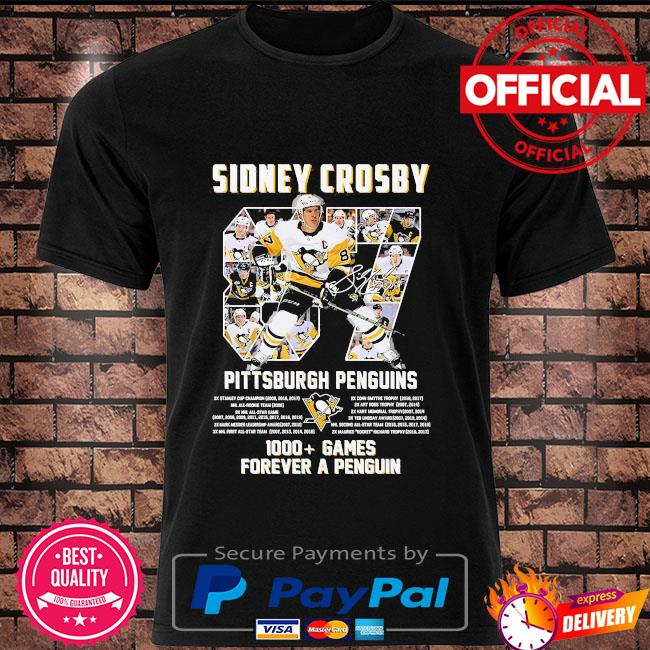 Sidney Crosby 87 Pittsburgh Penguins 1000 games forever a penguin signature shirt