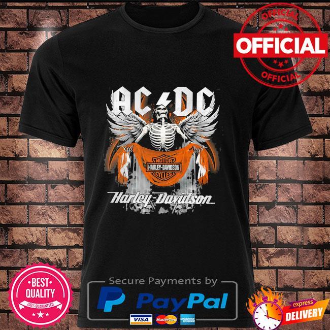 Skeleton ac Dc motor harley davidson shirt