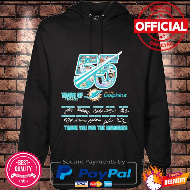 55 years Miami Dolphins thank you for the memories signatures s Hoodie black