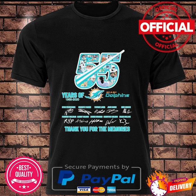 55 years Miami Dolphins thank you for the memories signatures shirt