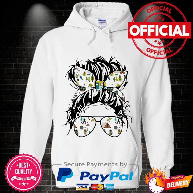 Camping life ladies wear ribbon and sunglasses Hoodie white