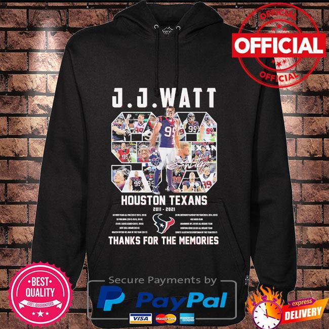 JJ Watt houston Texans thank you for the memories signature Hoodie black