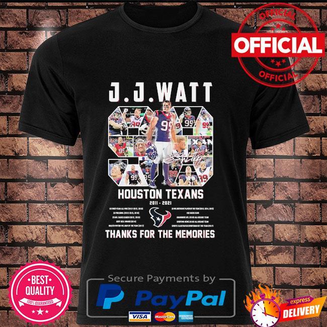 JJ Watt houston Texans thank you for the memories signature shirt