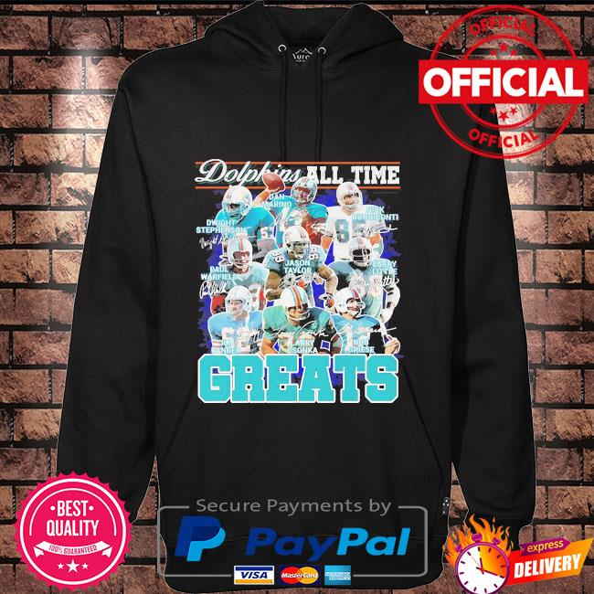 Miami Dolphins all time greats team players signatures Hoodie black