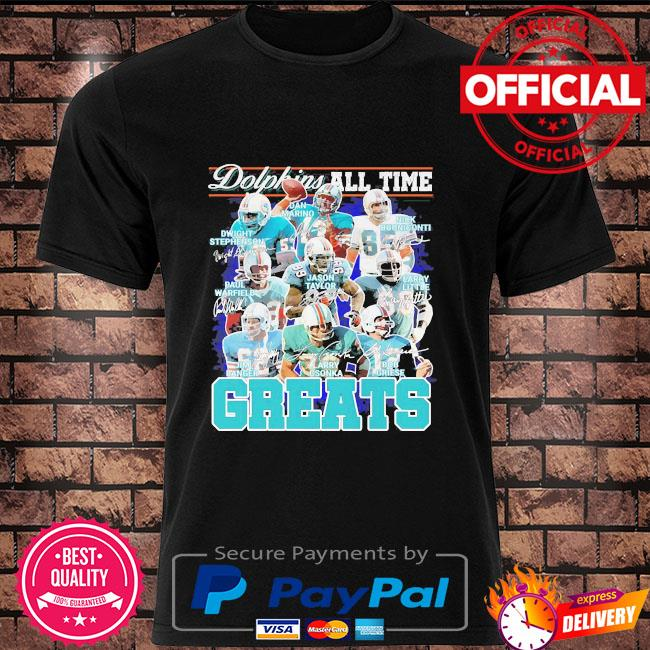 Miami Dolphins all time greats team players signatures shirt