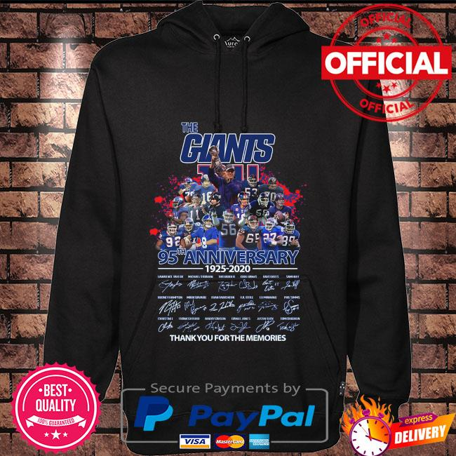 Official The Giants 95th anniversary thank you for the memories signatures Hoodie black