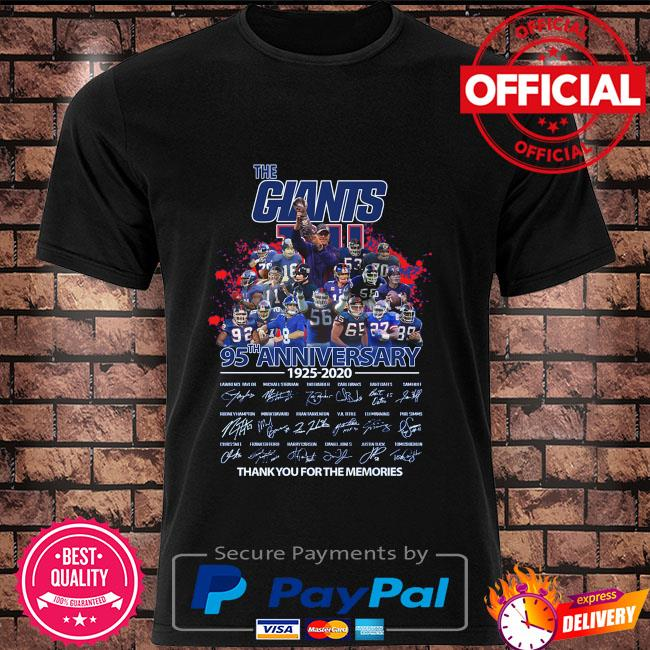 Official The Giants 95th anniversary thank you for the memories signatures shirt