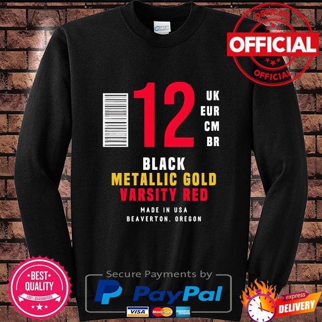 12 uk eur cm br black metallic gold varsity red Sweater black