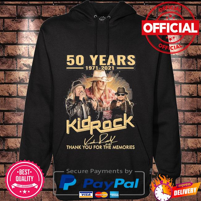50 years 1971 2021 Kid Rock thank you for the memories signatures Hoodie black