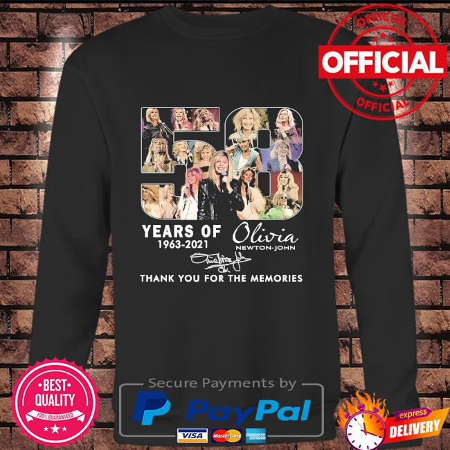 58 years Olivia thank you for the memories signature Long sleeve black