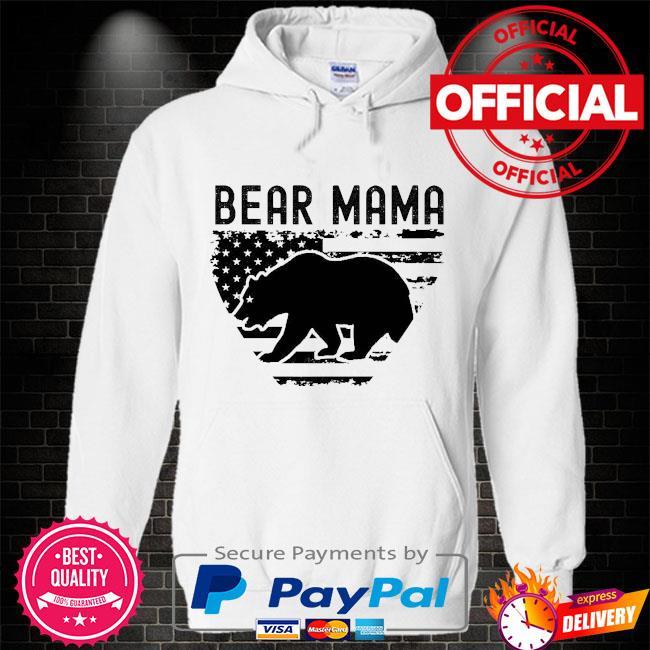 Bear Mama American flag Hoodie white