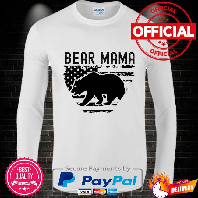 Bear Mama American flag Long sleeve white
