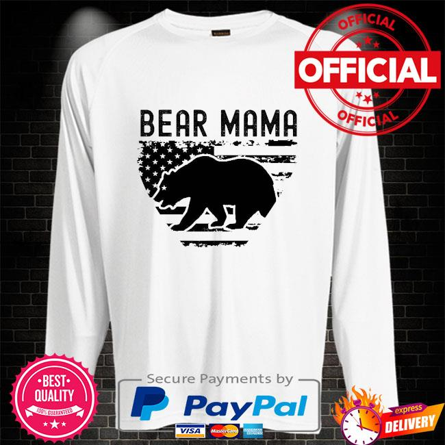 Bear Mama American flag Sweater white