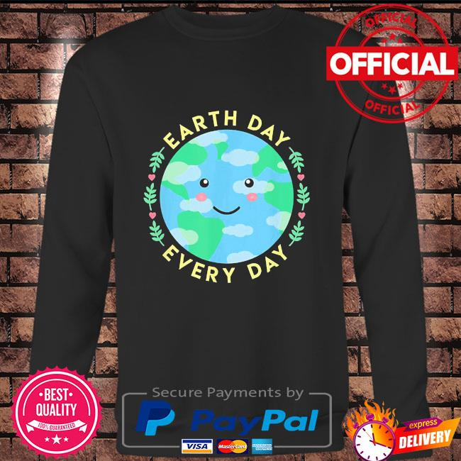 Earth day every day love the environment cute kawaii planet Long sleeve black