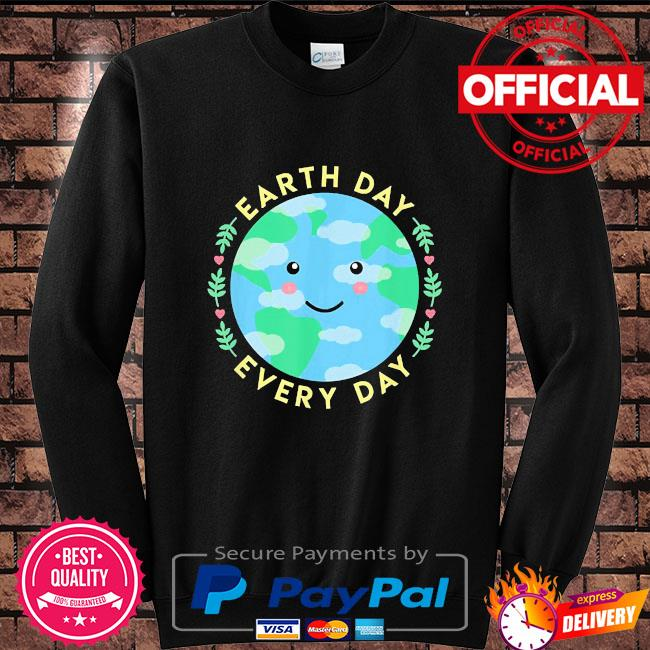Earth day every day love the environment cute kawaii planet Sweater black