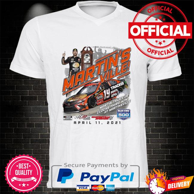 Martin truex jr checkered flag 2021 blue-emu maximum pain relief 500 race winner shirt