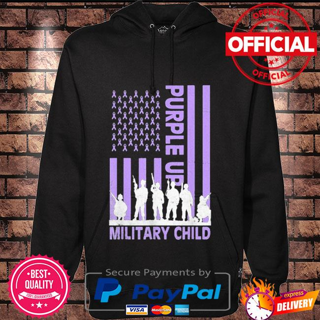 Purple up for military kids military child American flag Hoodie black