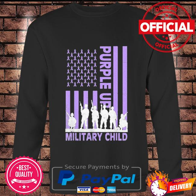 Purple up for military kids military child American flag Long sleeve black