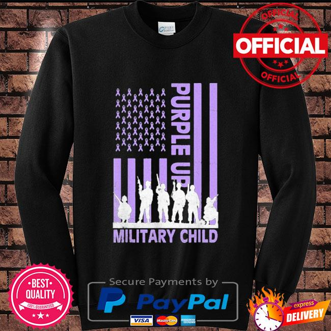 Purple up for military kids military child American flag Sweater black