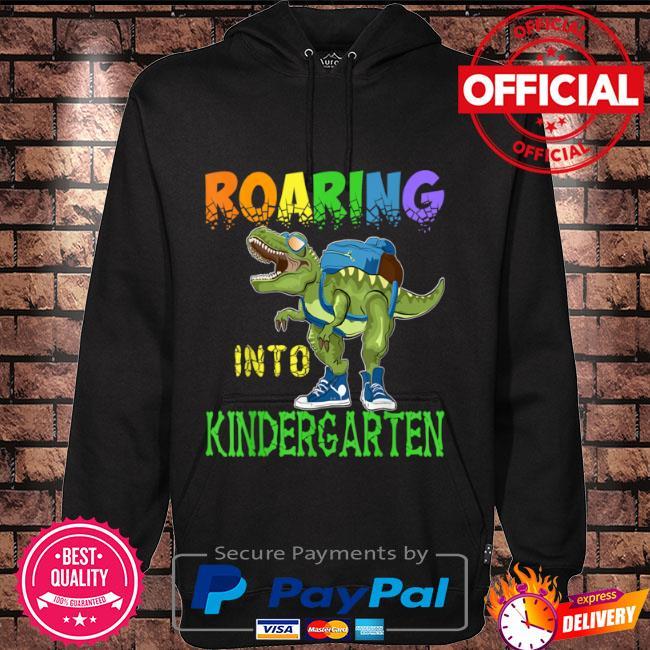 Roaring into kindergarten dinosaur t rex back to school boys Hoodie black
