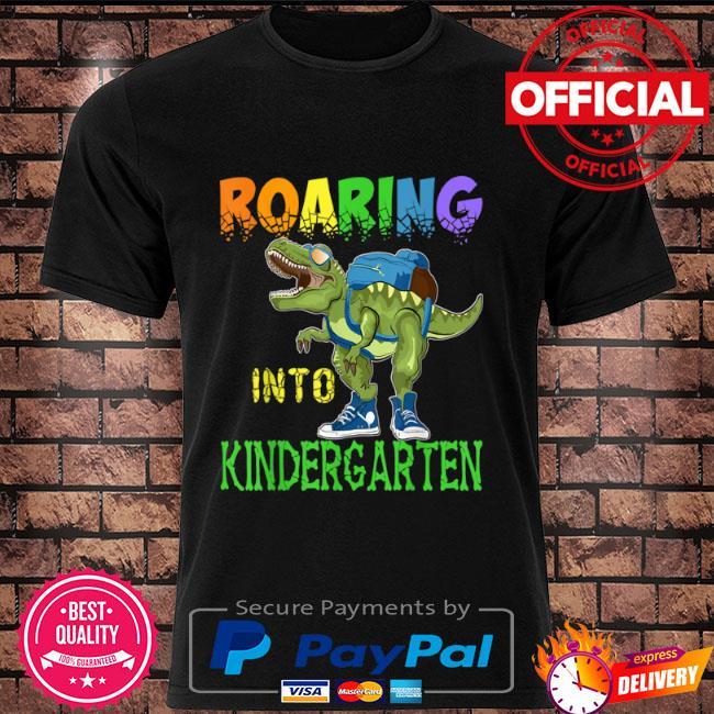 Roaring into kindergarten dinosaur t rex back to school boys shirt