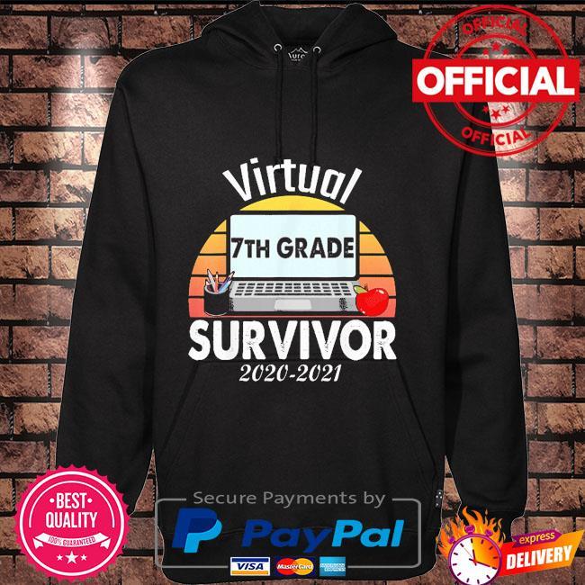 I survived virtual school 7th grade survivor 2021-2021 vintage Hoodie black