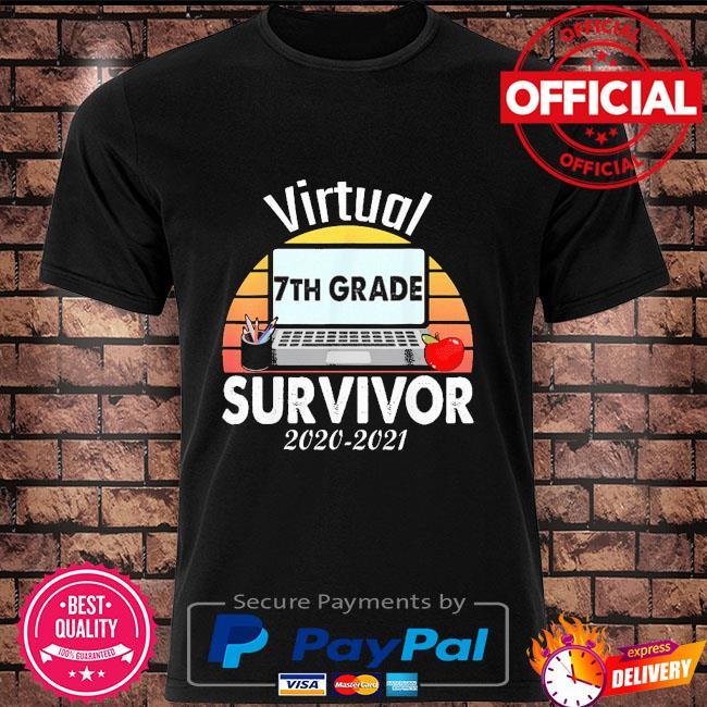 I survived virtual school 7th grade survivor 2021-2021 vintage shirt