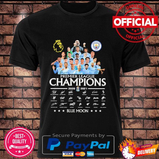 Manchester City premier league champions blue moon signatures shirt