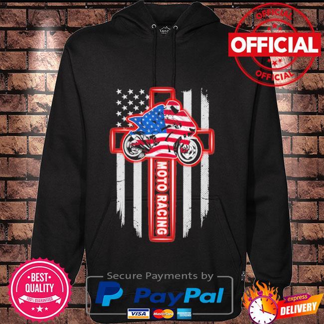 Moto racing american flag Hoodie black