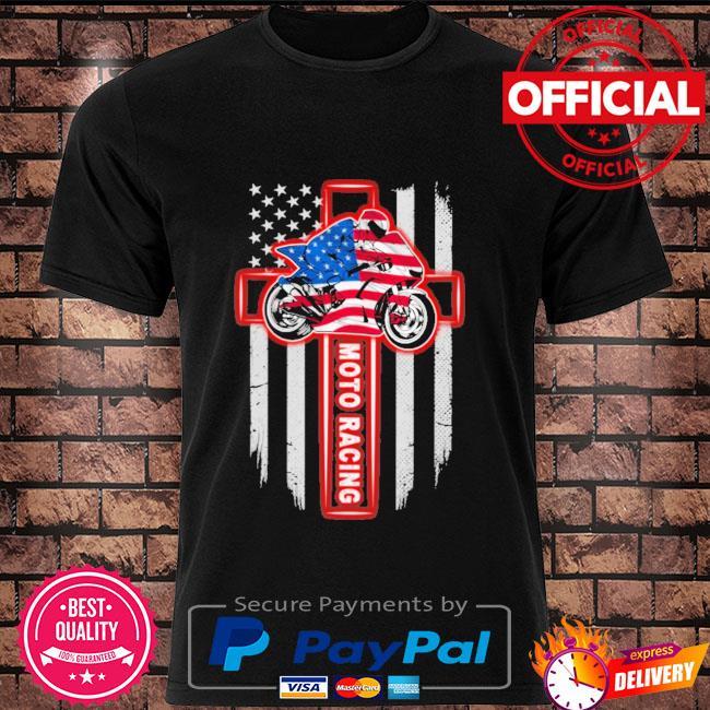 Moto racing american flag shirt