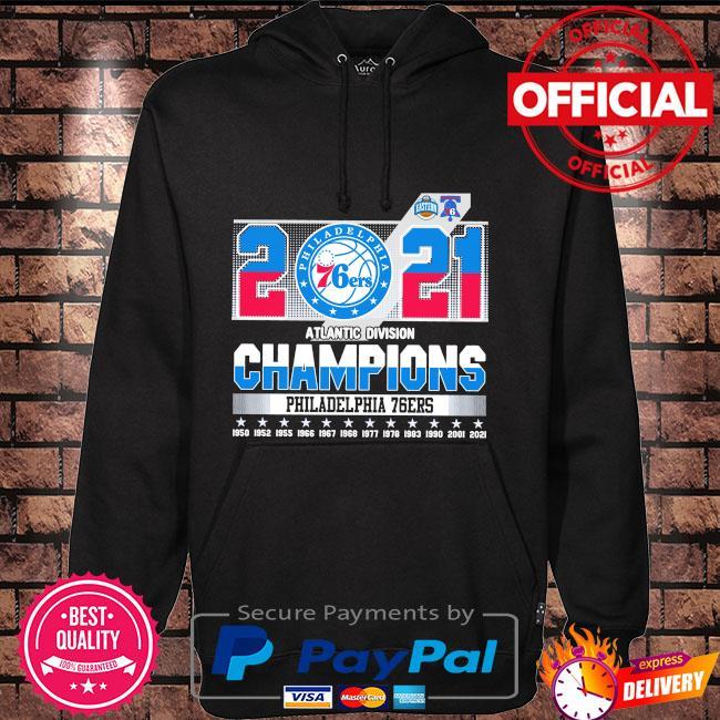 Official 2021 Philadelphia 76Ers Atlantic division champions Philadelphia 76Ers Hoodie black