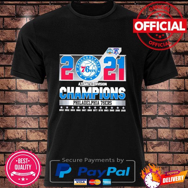 Official 2021 Philadelphia 76Ers Atlantic division champions Philadelphia 76Ers shirt