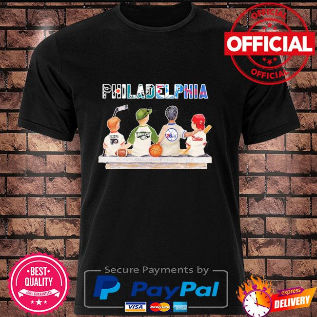Official Philadelphia Sport Teams Chibi With Flyers Eagles 76ers And Phillies shirt
