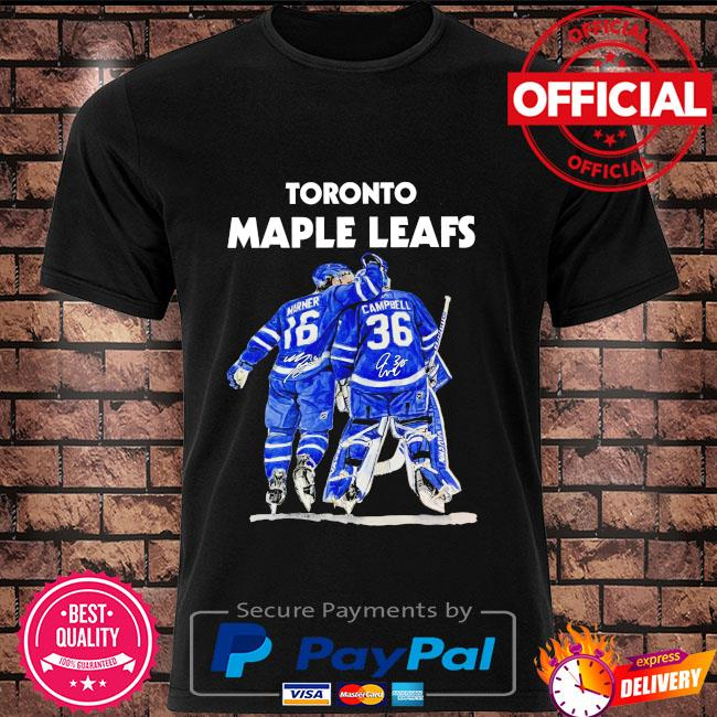 Toronto Maple Leafs 16 Marner 36 Campbell signatures shirt