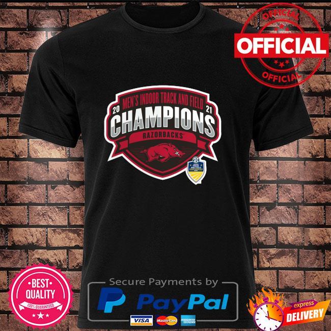 Arkansas Razorbacks 2021 sec men's indoor track and field conference champions shirt