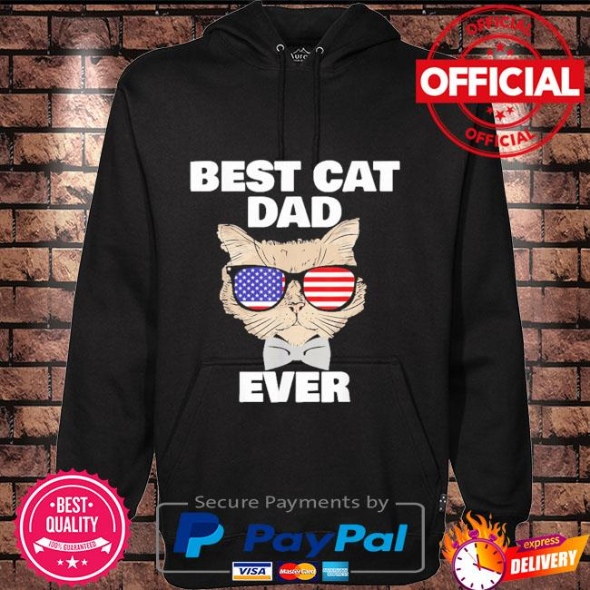 Best cat dad fathers day daddy papa cat with sunglasses Hoodie black