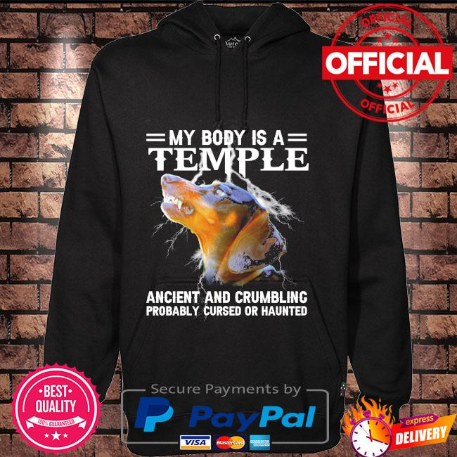 Dachshund my body is a temple ancient and crumbling Hoodie black