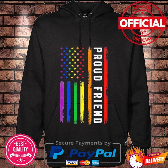Lgbt proud friend rainbow American flag Hoodie black