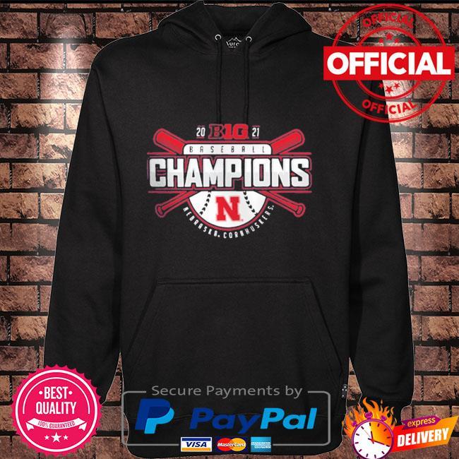 Official Nebraska Huskers 2021 Big Ten Baseball Conference Champions T-Shirt Hoodie black
