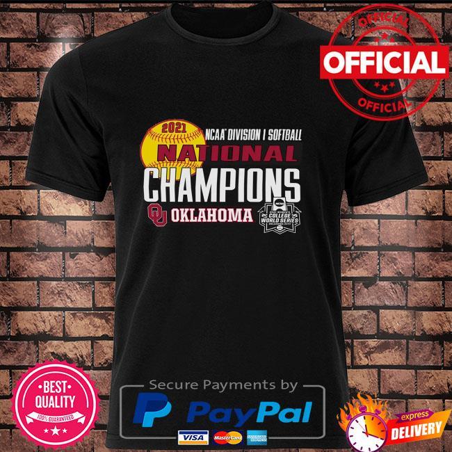 Oklahoma sooners women's 2021 ncaa softball women's college world series champions locker room shirt
