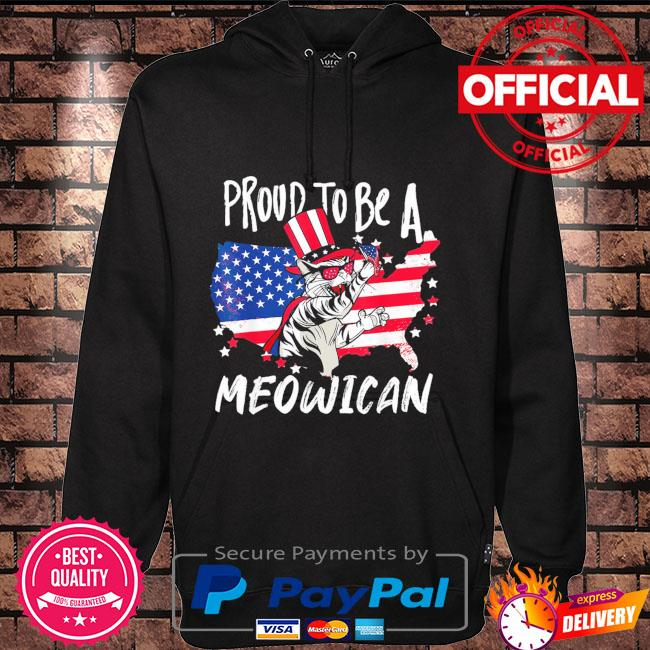 Proud to be as Meowican Cat 4th Of July American flag Hoodie black
